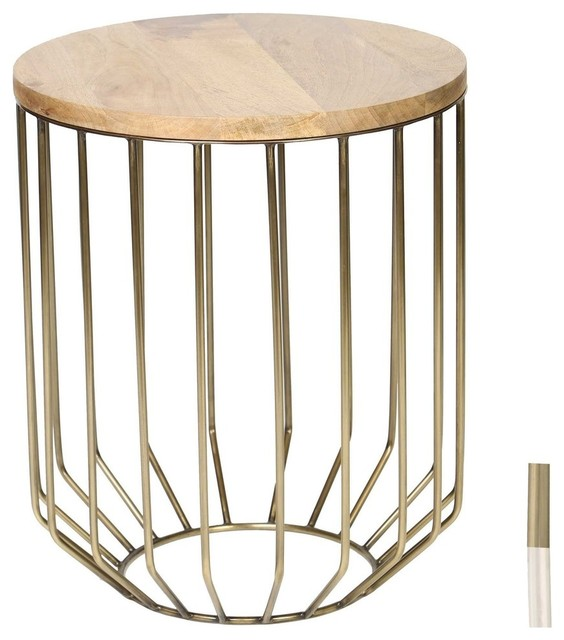 Wire Frame Accent Table With Wood Top Contemporary Side Tables