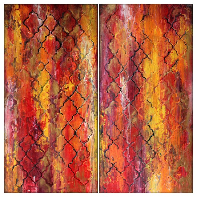 Morocco Textured Abstract Painting Diptych Painting Contemporary