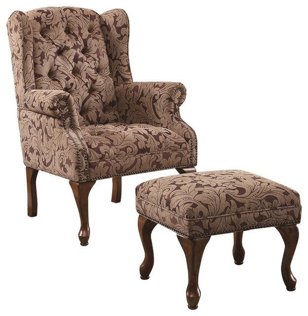 Dfs Woodland Accent Chair: Classic Accent Chair With Ottoman, Light Brown