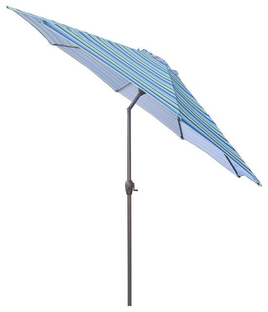 Outdoor Patio Market Umbrella With Hand Crank And Tilt Cobalt Blue