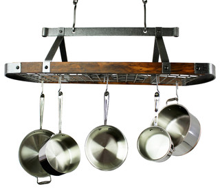 Enclume 45 Oval Ceiling Pot Rack Hammered Steel W Tigerwood 18 Hooks Rustic Racks And Accessories By