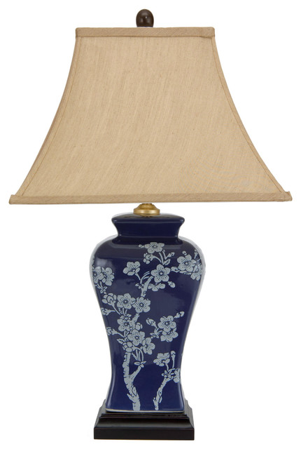 "23"" Cherry Blossoms Blue Porcelain Jar Lamp."