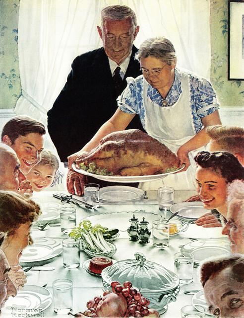 """""""Freedom From Want"""" Painting Print on Canvas by Norman Rockwell"""