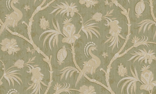 Goodwood Floral Plain Damask Textured Light Green Wallpaper Sample