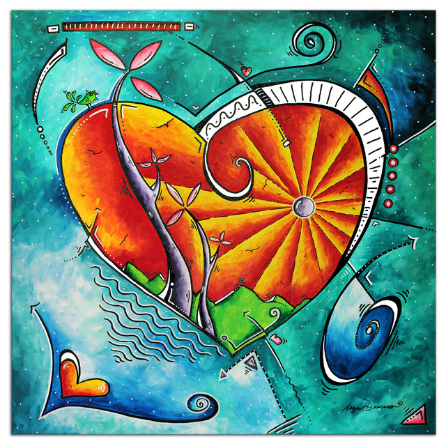 Heart Land, Orange & Turquoise Abstract Love Painting, Giclee on ...
