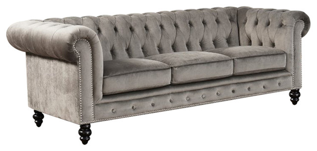 Pacific Loft Thayer Chesterfield Fabric Sofa Traditional Sofas