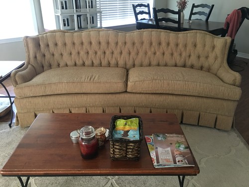 I Was Gifted This Sofa And I Like It Because I Find It Pretty Comfortable.  However, I Think The Fabric Is A Bit Dated. This Is Not The Original  Upholstery, ...