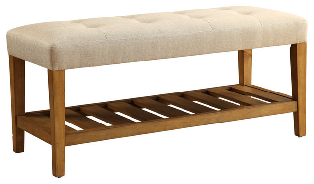 Acme Charla Bench, Beige And Oak Transitional Upholstered Benches