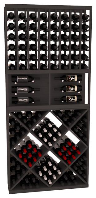 Cellarvue Ponderosa Pine Showcase Wine Rack Combo, Black Stain.