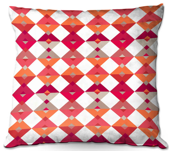 Triangles Red Throw Pillow, 20\