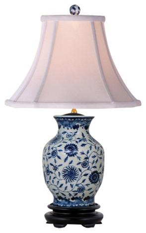 Garden Vines Porcelain Table Lamp, Blue And White