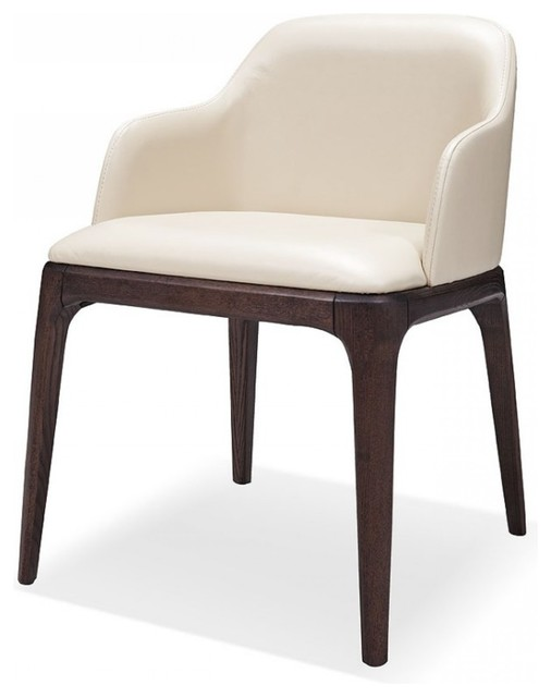 modrest margot modern cream ecoleather dining chair set of 2 midcentury dining