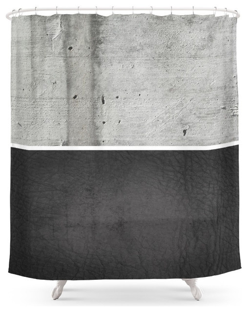 Raw Concrete and Black Leather Shower Curtain - Contemporary ...