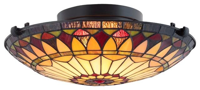 "Kira Home Mateo 16"" 2-Light Tiffany Glass Flush Mount Ceiling Light, Black."