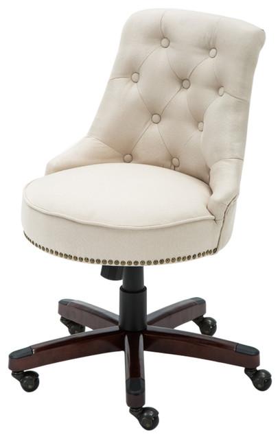 Desk Chair Adjule Height Swivel Tilt Nailhead Trim With Wheels Beige