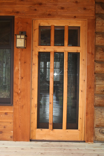 Custom wood screen door traditional screen doors for Screened front entry