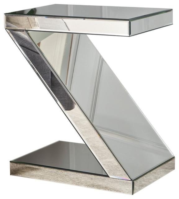 Adu Mirrored Z-Shaped Side Table.