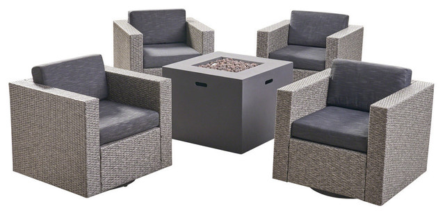 GDF Studio 4-Piece Fuller Outdoor Swivel Club Chair Set and Square Fire Pit