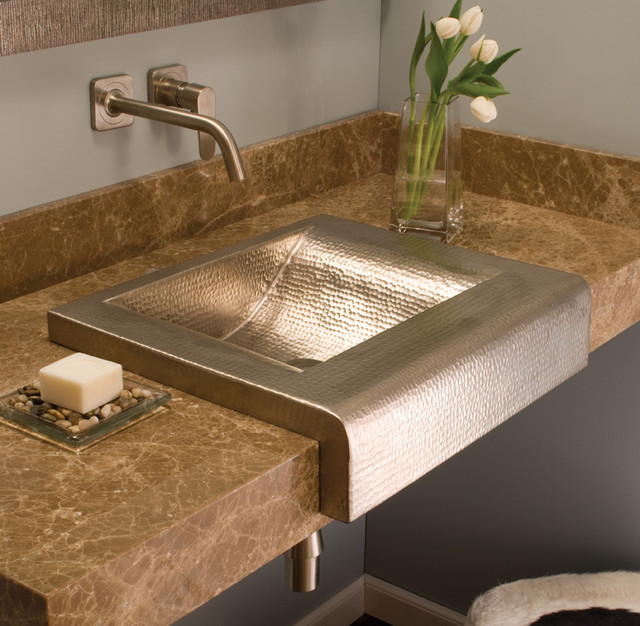 Palisades brushed nickel copper sink by native trails contemporary bathroom sinks san luis for Brushed copper bathroom faucets