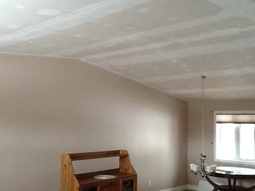 We just removed the popcorn ceiling texture and are not sure whether we  should finish the ceiling smooth or apply a knock down texture. - Would You Do A Knock Down Texture Or Finish Smooth?
