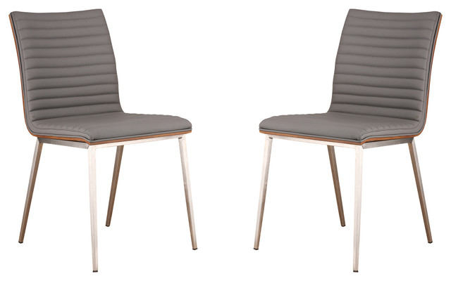Cafe Brushed Stainless Steel Dining Chairs With Walnut Back, Set Of 2, Gray.