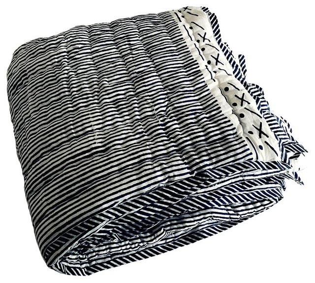 Proud Mary for Tilonia® Twin Quilt in Stripes in Navy Blue, 70''x90'', Size