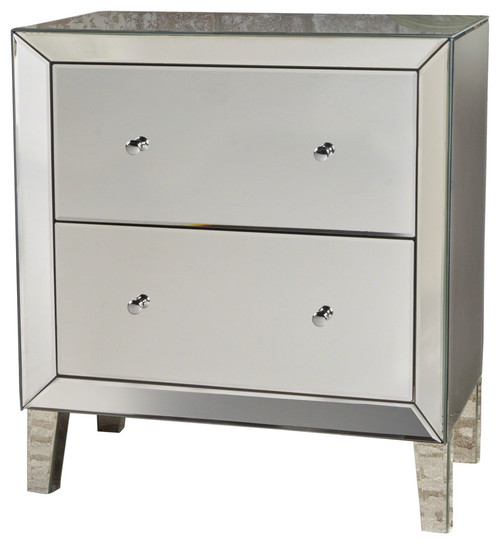 GDF Studio Jezz Silver Finished Mirrored 2-Drawer Cabinet With Faux Wood Frame