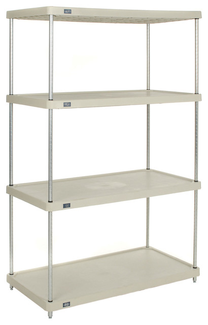 nexel 4 tier solid plastic shelving unit traditional. Black Bedroom Furniture Sets. Home Design Ideas