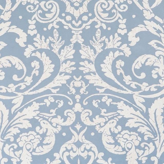Luscious Powder Blue Ornamental Wallpaper Sample