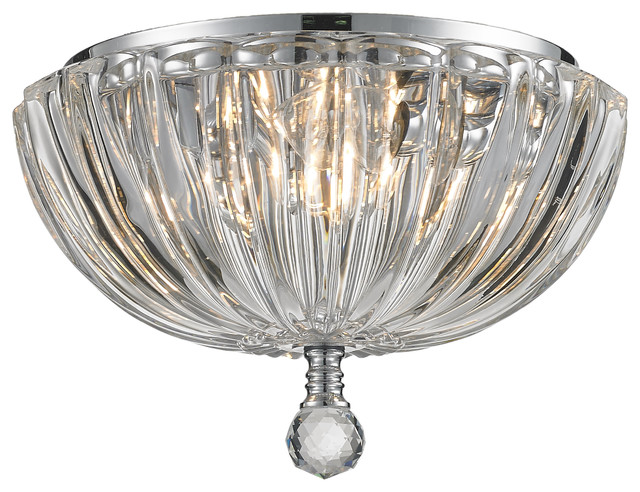 """Horus  3-Light Chrome Finished 10"""" Clear Crystal Chandelier Ceiling Light, Clear."""