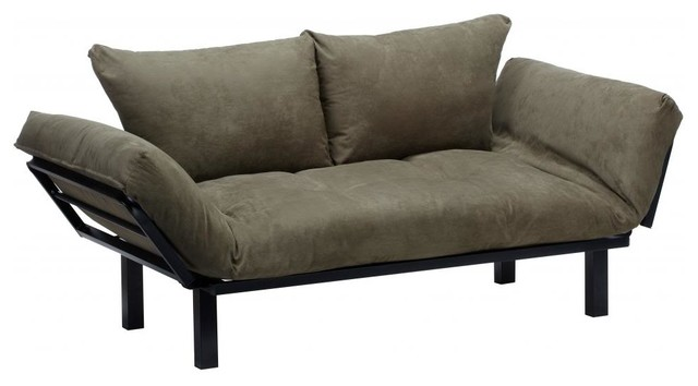 Hennepin Suede Daybed Futon Lounger With Black Metal Steel Frame