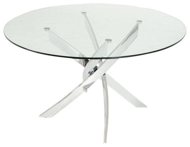 Modern Round Glass Dining Table modrest pyrite modern round glass dining table - contemporary