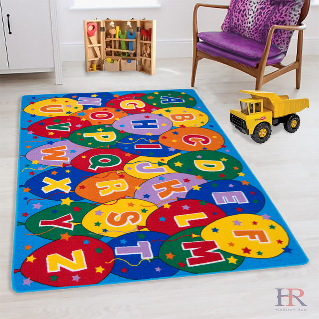 Kids Rugs, Educational, Learning Abcd Ballons, Rubber Back, Non-Slip, 5&x27;x7&x27;.