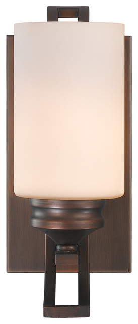 Hidalgo 1-Light Bathroom Vanity Light, Sovereign Bronze.