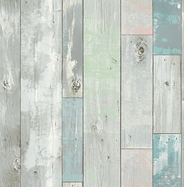 Distressed Wood Panel Wallpaper Turquoise Bolt