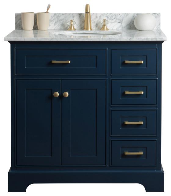 """36"""" Single Sink Bathroom Vanity, Blue With Carrara Marble Top"""