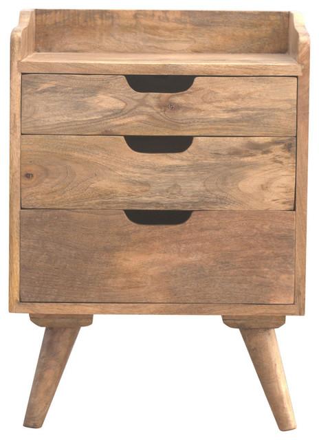 3-Drawer Bedside Table, Oak Finish Mango Wood