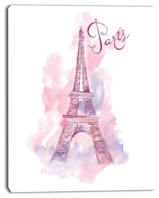 Quot Eiffel Tower In Purple Quot Watercolor Painting Canvas Print