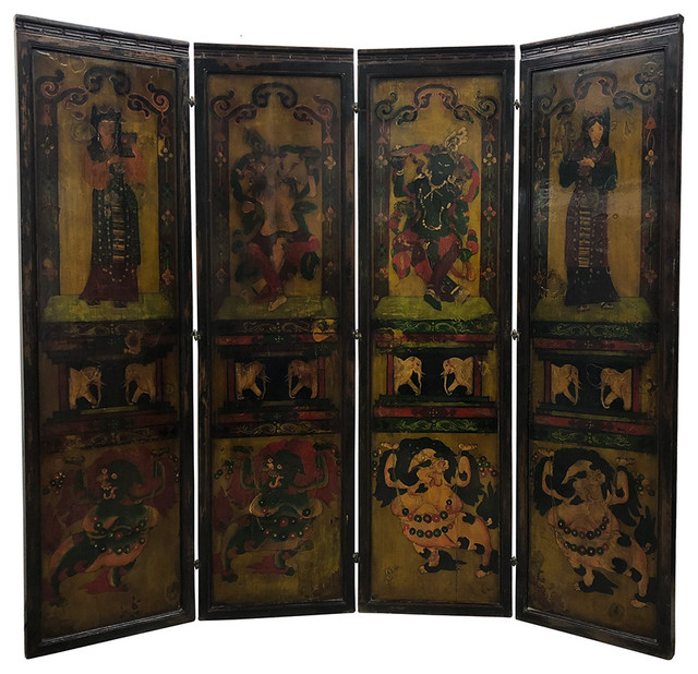 Excellent Consigned Antique Tibetan Painted Wooden Panel Screen Room Divider Download Free Architecture Designs Scobabritishbridgeorg