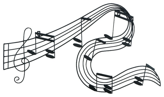 Music Notes Metal Wall Decor Black Contemporary Metal Wall Art
