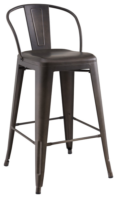 Industrial Style Metal Counter Stool, Set Of 4.