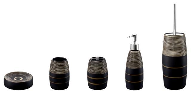Savannah 5 piece stoneware bathroom accessory set modern bathroom accessory sets by bisk s a for Savannah bathroom accessories