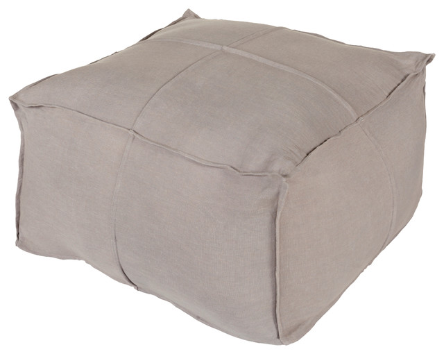 Gray Floor Pillows : Solid Linen Cube Pouf, Medium Gray - Contemporary - Floor Pillows And Poufs - by Surya
