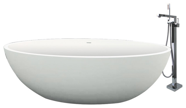 """Transolid Sfera 66.54""""x36.42""""x21.65"""" Freestanding Tub And Faucet Kit, White."""