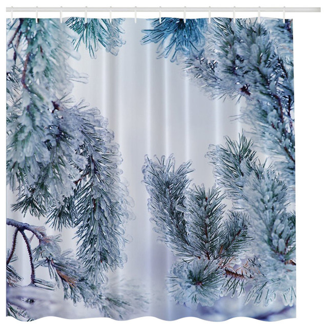 icy pine tree in winter snow fabric shower curtain curtains