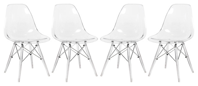 7221b08b1f8 LeisureMod Dover Molded Dinin Side Chair With Acrylic Base