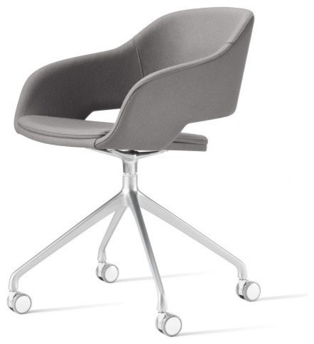 Martini Chair With High Swivel Base, Casters And Faux Leather, British White