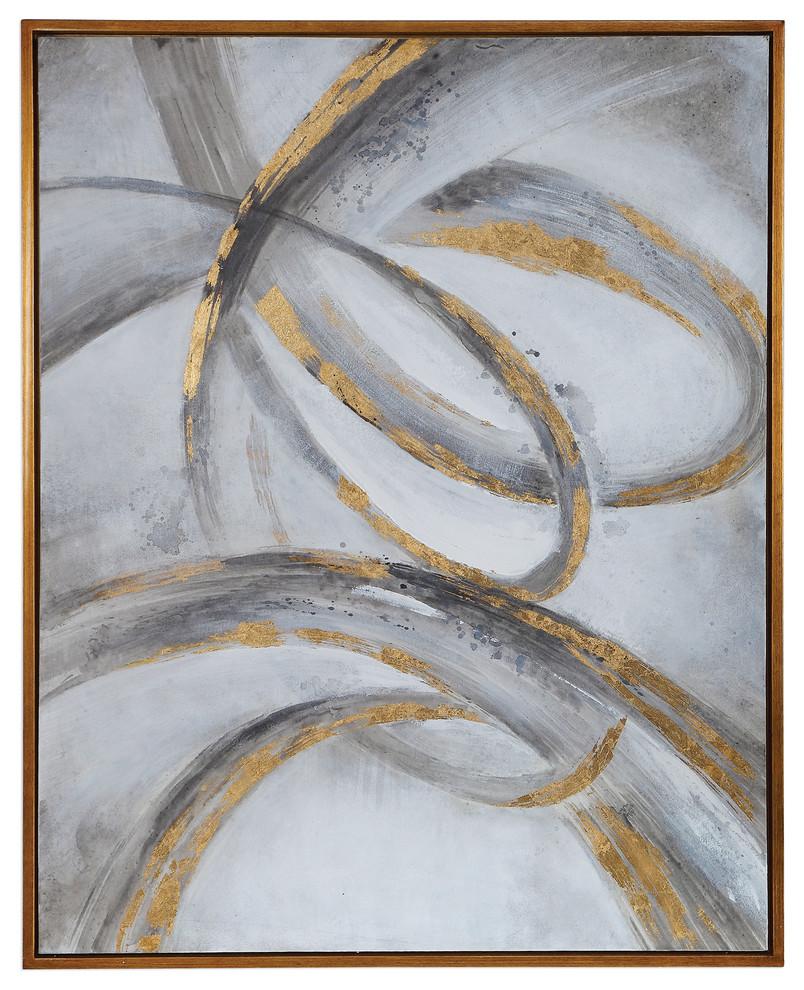 Large Abstract Gray Gold Swirl Painting Wall Art Twist Scroll Modern Metallic