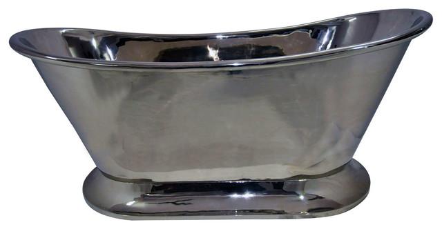 Nickel Finish Copper Bathtub With Curved Pedestal