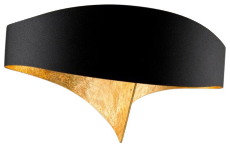 Scudo Black LED Wall Light, Gold Leaf